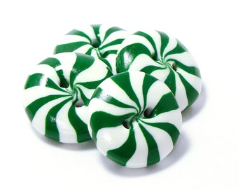 Polymer clay buttons green white peppermint candies set of four