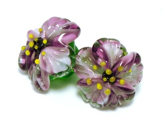 Glass shank buttons pair Purple Anemone flowers