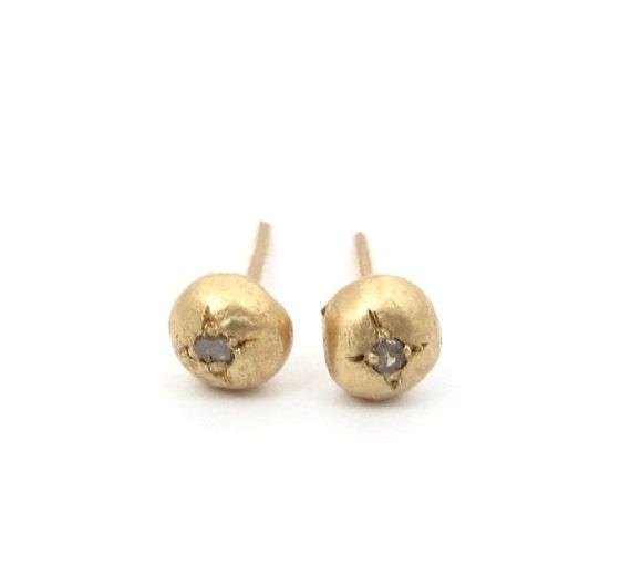 Rough Cut Diamond Post Earrings - Tiny Rough Cut Diamonds in 14k Solid Gold Post Earrings