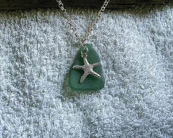 Green beach glass necklace with starfish charm. Beach glass jewelry.