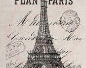 Clip Art Design Transfer Digital File Vintage Download DIY Scrapbook Shabby Chic Pillow Map French Label Paris France Eiffel Tower No. 0439