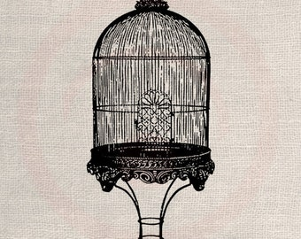 Clip Art Design Transfer Digital File Vintage Download DIY Scrapbook Shabby Chic Pillow Burlap Bird Cage French Paris Art No. 0466