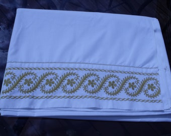 Sale  Vintage linens double (full size) flat sheet   69x 100 inch ,50/50 .white with gold embroidery trim Dorm
