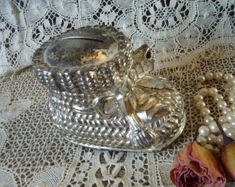 VintageTarnished Silver Metal Baby Bootie Bank, patina, nursery, babys room