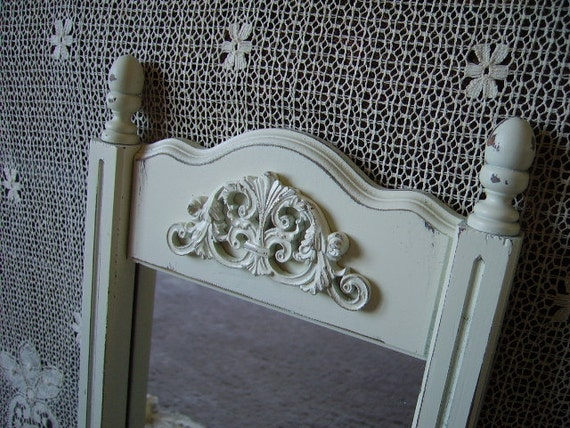 Shabby French Country Inspired Mirror,upcycled, elegant, creamy white, distressed