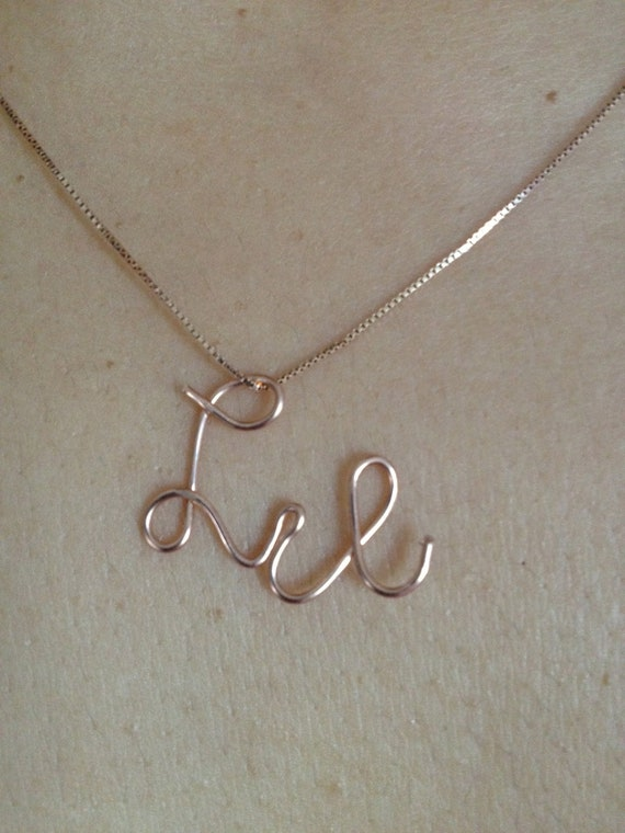 Lili or Lil Rose gold Pendant, Rose gold jewelry, Etsy Jewelry,