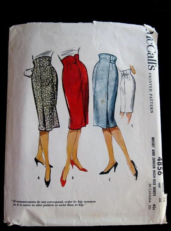 1950s High Waist Straight Skirt Pattern Waist 28 Hip 38