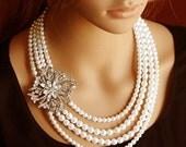 HARRIET, Bridal Necklace, Wedding Necklace, Swarovski Pearl and Crystal Rhinestone Bridal Necklace, Vintage Style Bridal Necklace, Art Deco