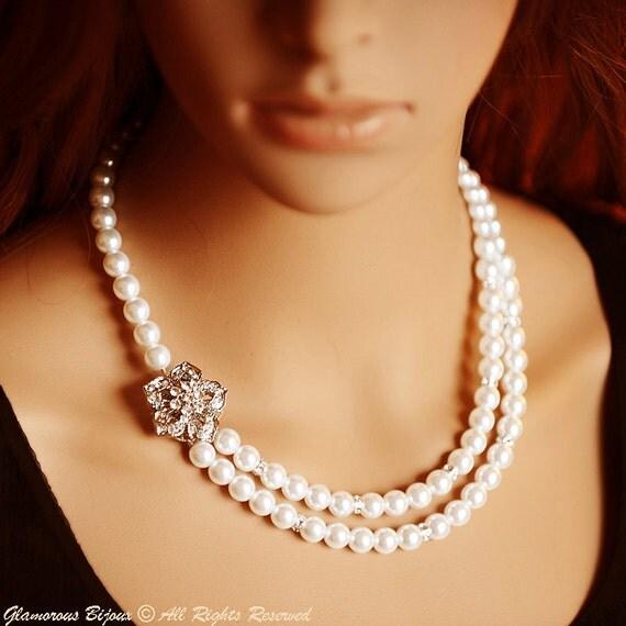 YOLANDE, Vintage Style Bridal Necklace, Pearl & Crystal Wedding Necklace, Filigree Flower Rhinestone Flower Necklace, White Ivory Champagne
