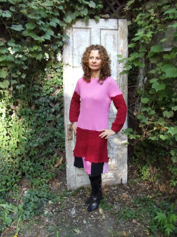 SALE,WAS 87.00,Sweater Dress, Bohemian Dress,,Upcycled  Dress,Eco Dress,Shabby Chic Dress