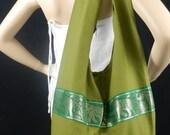 Thai Cotton Sling Bag Purse Hippie Boho Elephant Crossbody Messenger Top Zip in Green