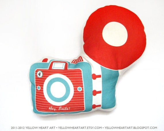 Camera Brownie Plush / Pillow in Red and Dark Teal by Yellow Heart Art