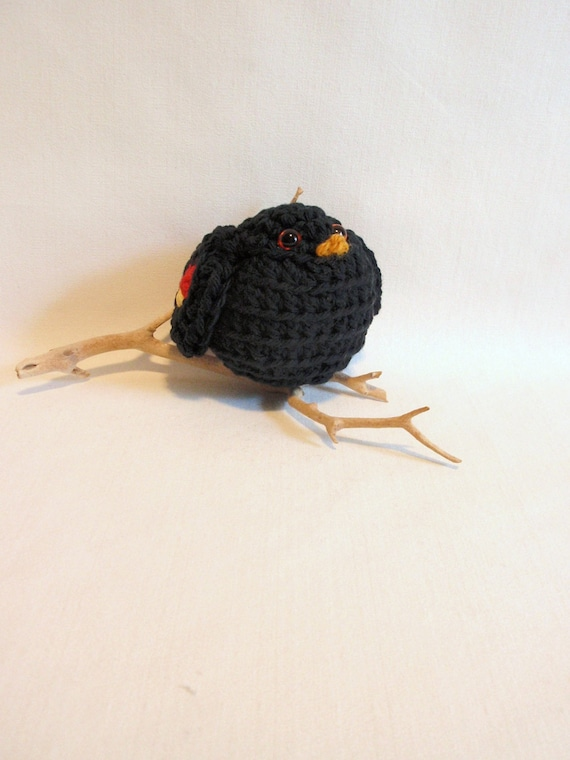 Bye Bye BLACK BIRD  little  crocheted  bird.  Perch him on your window ledge or give as a  gift  Birthday, Special Friend, . ..Ready to SHIP