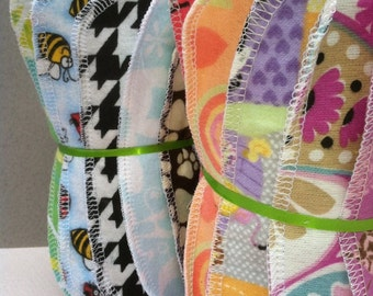 """60 Reusable Cloth Baby Wipes- 7""""x7"""" 2 Ply Flannel  Assorted or You Pick Gender Pack -Lots of New Patterns"""