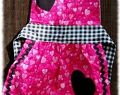 Retro Hot Pink Love Ruffle Childrens Apron. Perfect for All you Holiday Baking and Crafts
