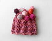 Hand Knitted Baby Hat - Red, 0 - 6 months