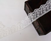 Ivory Bridal Floral Lace Trim- One (1) Yard
