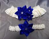 Royal Blue Star Flowers on Ivory Wedding Garter Set - Something Blue Bridal Garter Set, Cobalt Blue Garter Set