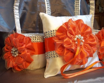 Flower Girl Basket, 2 Ivory & Persimmon Wedding Baskets and matching Ring Bearer Pillow with Rhinestone Mesh handle and Trim