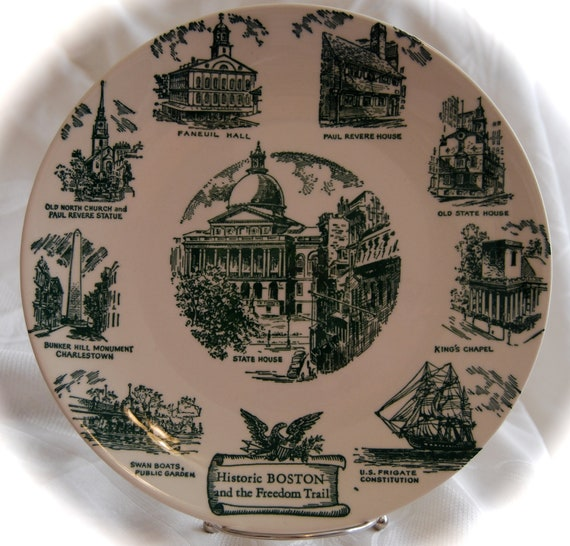 Beautiful Vintage 'Historic Boston and The Freedom Trail'  Lith O Sketch of Curhan Co China Collectors Plate No 1790-S  Epsteam