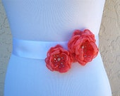 Coral wedding sash flower with rhinestone centers for bride bridesmaid flower girl formal occassion