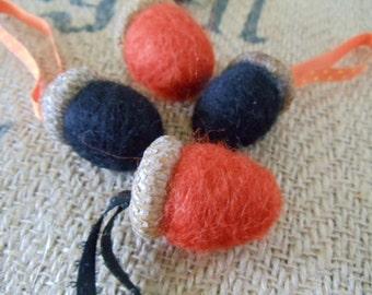 Black and Orange Wool Felted Hanging Acorns Needle Felted Halloween Ornaments