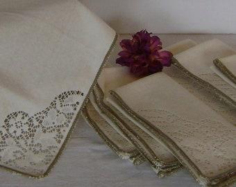 Set of 7 Elegant Cloth Napkins Ready for the Holidays