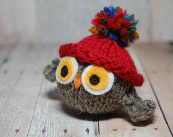 Knitted Toy Owl with Red Hat - Valentine Holiday Toy Ornament Halloween New Baby- Natural Fibers