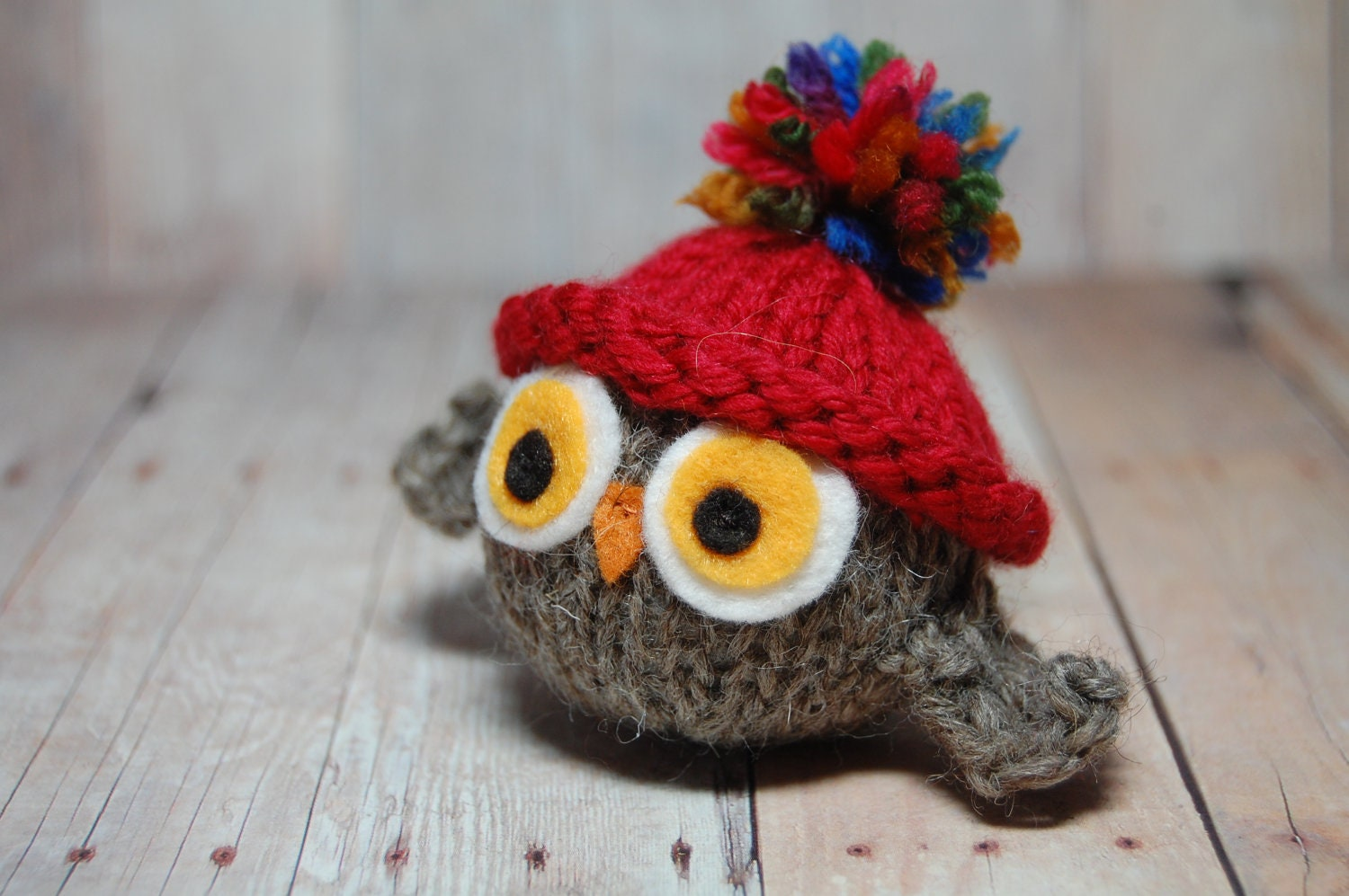 Knitting Patterns For Toy Hats : Knitted Toy Owl with Red Hat Valentine Holiday Toy Ornament