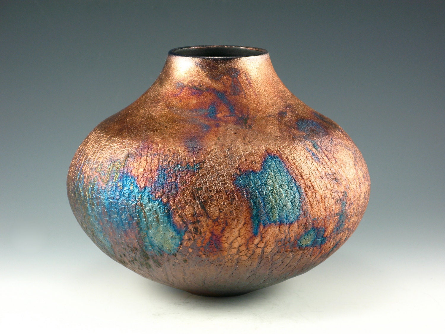 metallic vase raku pottery vase blue and copper penny deko bodenvase wei 80 cm hoch dekoration. Black Bedroom Furniture Sets. Home Design Ideas