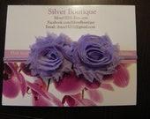 Double Lavender Vintage Inspired Shabby Chic Mini Rose 2 Flower Headband. Purple skinny elastic headband. Photography prop Baby Gift.