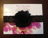 Shabby Chic Frayed Black Rose Flower Baby Headband. Black Lace Headband. Flower headband. Stretchy headband. Photography prop Headbands