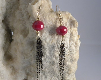 Red faceted and Black/Gold Chain Earrings