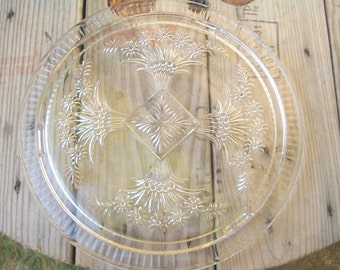 Vintage Glass Footed Cake Plate, Serving Plate, Footed Plate
