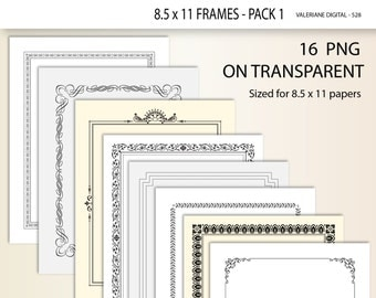 16 digital border, digital frame, Clip art Design Elements for invitations, scrapbooking - Clip Art Designs 528