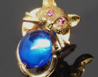 Vintage Ballou Tiny Cat Tac Pin With Bright Blue Jelly Belly And Pink Rhinestone Eyes
