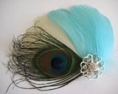 Wedding Bridal Bridesmaid Ivory Tiffany Aqua Blue Feather Peacock Rhinestone Jewel Hair Clip Fascinator READY TO SHIP