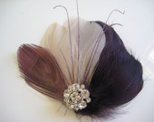Wedding Bridal Bridesmaid Champagne Plum Purple Eggplant Peacock Feather Rhinestone Jewel Hair Clip Fascinator