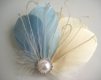 Wedding Bridal Bridesmaid Ivory Light Blue Feather Pearl Jewel Head Piece Hair Clip Fascinator Accessory