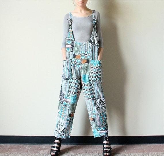 80s Abstract Print Jumpsuit, Fall color olive green, teal blue, chestnut brown & burnt sienna India batik Kente cloth suspender overalls