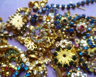 Vintage Brass and Rhinestone Pieces