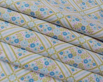 Vintage French Cotton Fabric Turquoise Flowers Diamond Shapes Lime Green Stripes for Patchwork Quilting Lavender Bags Feedsack Pillow