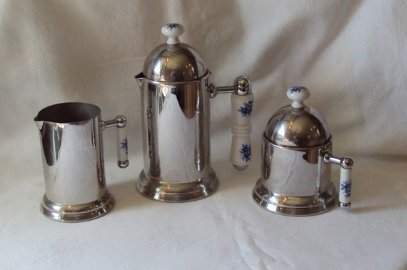Reserved for Faith Please do not Buy Vintage Italian Inox 18c Coffee Pot, Milk and Creamer Porcelain Handles Blue Flowers