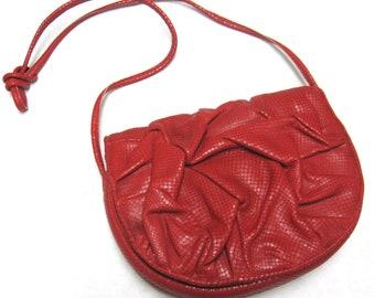 Red Leather And Snakeskin Purse Designer Gino Shoulder Bag