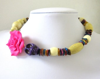 Day of the Dead Necklace Sugar Skull Choker Memory Wire Cream Purple Pink Rose Shell Wood