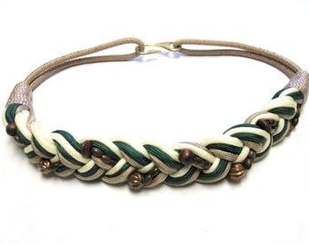 Braided Belt Twist Cinch Beaded Cream Taupe Green Brown Wide