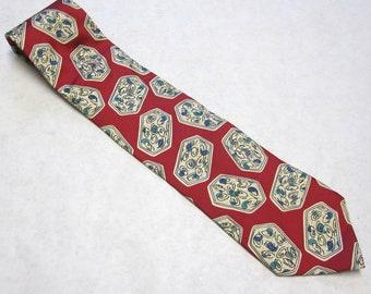 """Vintage Necktie 4"""" Wide Regatta Red Silk Designer Tie"""