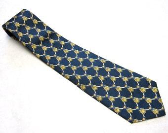 Blue Gold Necktie Silk Tie Christian Dior