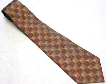 Brown Rust Orange Necktie Silk Tie