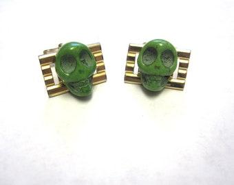 Skull Cufflinks Day Of The Dead Cuff Links Wedding Accessory Mens Green Skull Jewelry